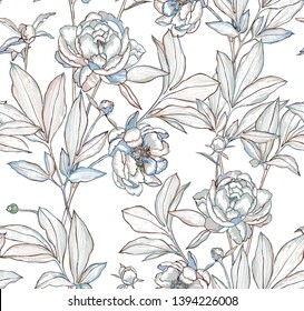 Vector botanical seamless pattern. Elegant peonies, buds and leaves. Contour drawing, etching graphic technique, embroidery illusion. Vintage background with beautiful flowers for textile and fabric.