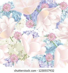 Vector botanical seamless pattern with hydrangea, tulips flowers. Modern floral pattern for textile, wallpaper, print, gift wrap, greeting or wedding background. Spring or summer design.