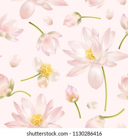 Vector botanical seamless pattern with pink lotus flowers. Design for natural cosmetics, health care and products, yoga center. Can be used as greeting card or wedding invitation. With place for text