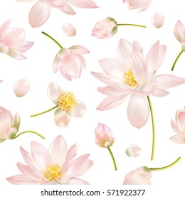 Vector botanical seamless pattern with pink lotus flowers. Background design for natural cosmetics, health care and ayurveda products, yoga center. Best for wrapping paper