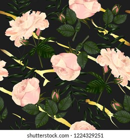 Vector botanical seamless pattern with rose flowers with gold line on black. Modern floral pattern for textile, wallpaper, print, gift wrap, greeting or wedding background.