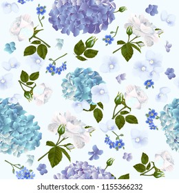 Vector botanical seamless pattern with roses and hydrangea flowers. Modern floral pattern for textile, wallpaper, print, gift wrap, greeting or wedding background. Spring or summer design.