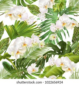 Vector botanical seamless pattern with tropical leaves, orchid flowers on white. Background design for cosmetics, spa, wedding, web page, summer sale. Best for hawaiian style print, wrapping paper