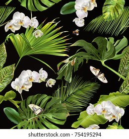 Vector botanical seamless pattern with tropical leaves, orchid flowers and butterflies on black. Background design for cosmetics, spa, wedding, web page. Best for hawaiian style print, wrapping paper