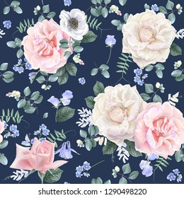 Vector botanical seamless pattern with white and pink roses and blue flowers on dark blue.
