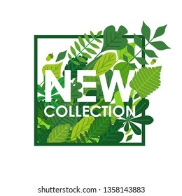Vector botanical seasonal illustration. Green leaves in a square frame with new collection typography isolated on white background. Ad card design template. Chestnut, oak, willow, hornbeam, maple.