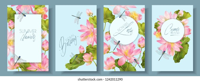 Vector botanical vertical banner set with pink lotus flowers and dragonfly. Design for natural cosmetics, health care, ayurveda products, yoga center. Can be used as greeting card, wedding invitation