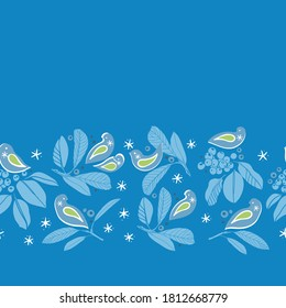 Vector botany winter berry bird border. Hand drawn folk art style design with bird, plant and snow flake in blue tones. All over print. Perfect for christmas season and winter holiday.