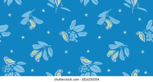 Vector botany winter berry bird pattern. Hand drawn folk art style design with bird, plant and snow flake in blue tones. All over print. Perfect for christmas season and winter holiday.
