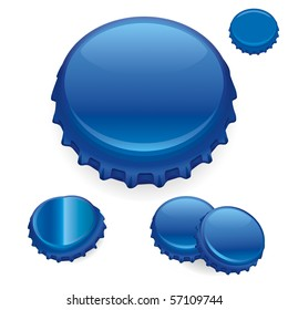 "Vector Bottle Caps - Blue  ""Full compatible - gradients"""