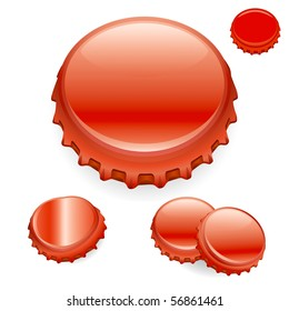 "Vector Bottle Caps - Red  ""Full compatible - gradients"""