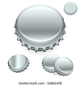"Vector Bottle Caps - Silver  ""Full compatible - gradients"""