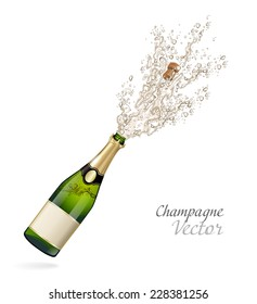Vector bottle of Champagne explosion
