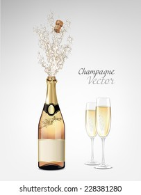 Vector bottle of Champagne explosion and glasses