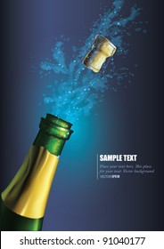 Vector Bottle of champagne with splashes