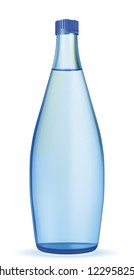 Vector bottle with clean blue water. EPS-10