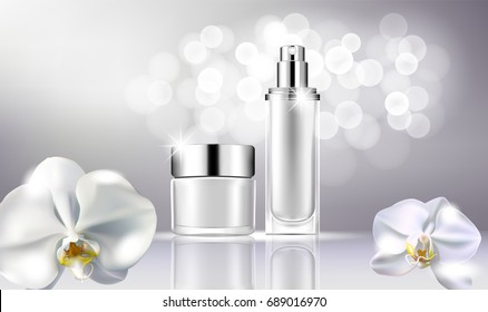 vector bottle cosmetic mock up on a gray background, with your brand, ready for print ads or magazine design. Transparent and shine, realistic 3d style
