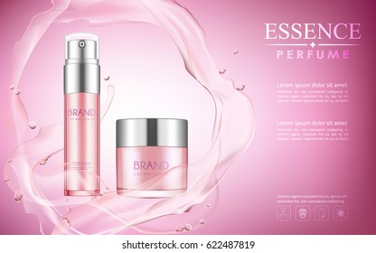vector bottle cosmetic mockup on pink background, with your brand, ready for print ads or magazine design. Transparent and shine, realistic 3d style