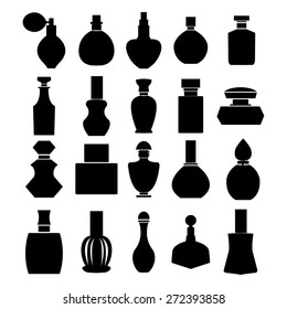 Vector of bottle icon collection, vector isolated silhouette, Cosmetics  Perfume Bottles  Simple shapes were used.