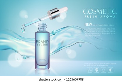 vector bottle serum cosmetic mock up with  transparent water and shine on blue background, with your brand, ready for print ads or magazine design.