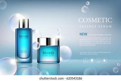 vector bottle serum cosmetic mockup on blue background, with your brand, ready for print ads or magazine design. Transparent and shine, realistic 3d style
