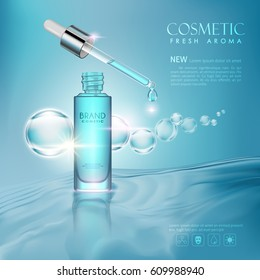 vector bottle toner cosmetic mockup on blue background, with your brand, ready for print ads or magazine design. Transparent and shine, realistic 3d style