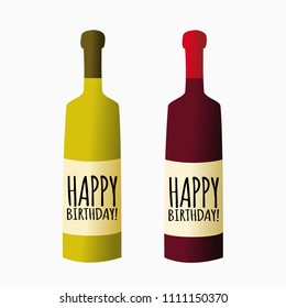 Vector bottle of wine, happy birthday