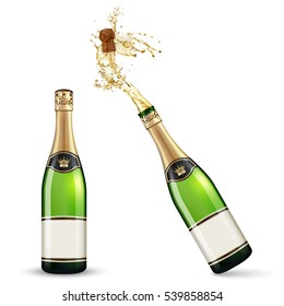 Vector bottles of Champagne