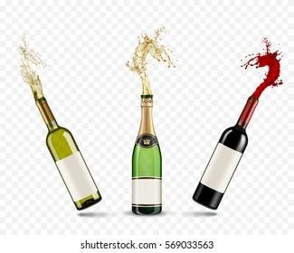 Vector bottles of Champagne and wine splash on transparent background