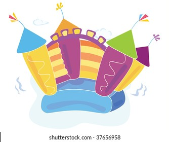 Vector bouncy castle. Vector Illustration of a bouncy castle. Easy to resize and change colors!