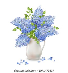 Vector bouquet of lilac in a vase with fallen flowers on white background