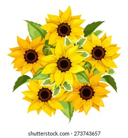 Vector bouquet of orange and yellow sunflowers isolated on a white background.