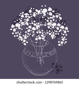 Vector bouquet of outline Gypsophila or Baby's breath flower bunch and bud in transparent round vase in white on the dark purple background. Ornate contour Gypsophila branch for spring design.