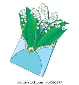 Vector bouquet with outline Lily of the valley or Convallaria flower in pastel white and green leaves in opened craft envelope isolated on white. Contour ornate May bells for romantic spring design.