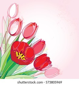Vector bouquet with outline red tulips flowers and green leaves on the pink background. Template with ornate floral elements for spring design, greeting, invitation. Bunch of tulip in contour style