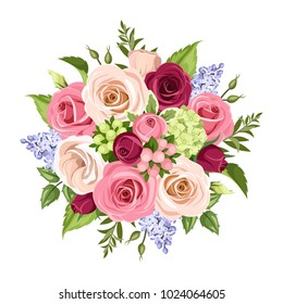 Vector bouquet of pink, white, purple and blue roses, lisianthuses and lilac flowers isolated on a white background.