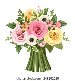 Vector bouquet of pink, yellow and white roses and anemone flowers and green leaves.