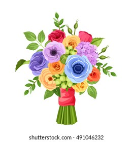 Vector bouquet of red, orange, yellow, blue and purple flowers isolated on a white background.
