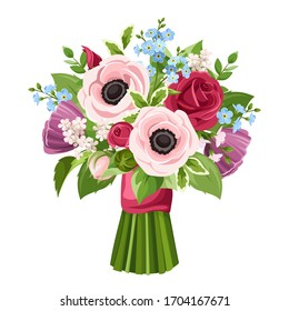 Vector bouquet of red, pink, purple and blue anemones, roses and forget-me-not flowers isolated on a white background.