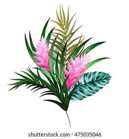vector bouquet with tropical flowers. Retro Hawaiian style floral arrangement, with beautiful heliconia, palm, quill. Amazing vector illustrations, vintage style. Editable graphic elements.