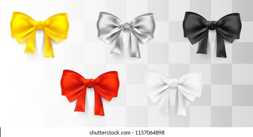 vector bow. Set of five decorative elements isolated on white background