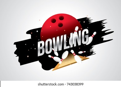 Vector of bowling  badge design with bowling ball and skittles.