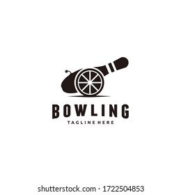 Vector bowling and cannon logo combination. Unique kegling and embrace logotype design template.