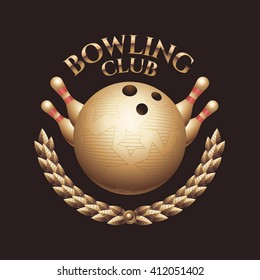 Vector bowling logo, emblem, icon, label, sign with ball and pins. Template design element for business related to bowling - store with equipment, club, match, championship