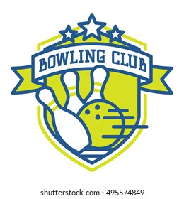 Vector bowling logo emblem and sport logo design element