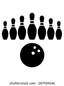 Vector Bowling Pins and Bowling Ball Set
