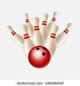 Vector bowling strike. Skittles and ball isolated on transparent background