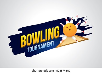 Vector of bowling tournament badge design with bowling ball and skittles.