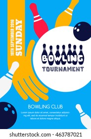 Vector bowling tournament banner, poster or flyer design template. Flat layout background with bowling ball in hand, pins and hand drawn lettering.