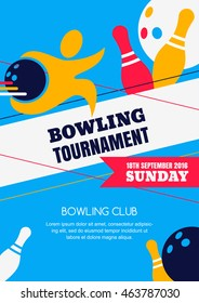 Vector bowling tournament banner, poster or flyer design template. Flat layout background with human silhouette, bowling ball and pins.